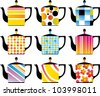 Set of a teapots - stock vector