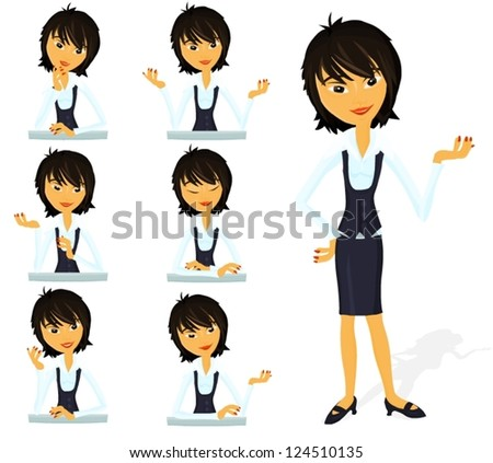 Set of a various woman poses - D - stock vector