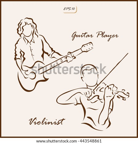 Set of a vector Illustration shows a man with a guitar and man playing the violin