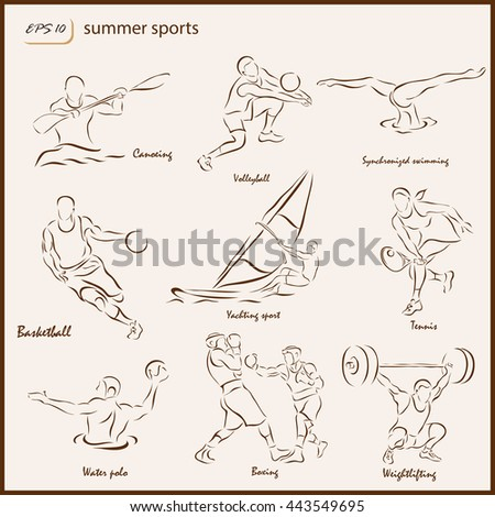 Set of a vector Illustration shows a Summer Sports. Canoeing, Volleyball, Synchronized swimming, Basketball, Yachting sport, Tennis, Water polo, Boxing, Weightlifting