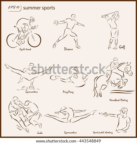 Set of a vector Illustration shows a Summer Sports. Cycle track, Discus, Golf, Gymnastics, Ping-pong, Horseback riding, judo, Sport pistol shooting
