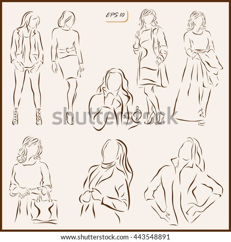 Set of a vector Illustration shows a women's fashion. Modern and classic fashion