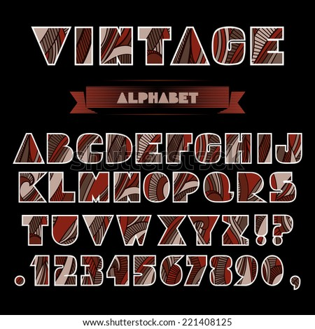 Set of ABC letters and numbers with abstract striped vintage pattern. Rich ornate alphabet in warm chocolate colors and retro style. Fancy capital letters, schematic shapes. Vector is EPS8.