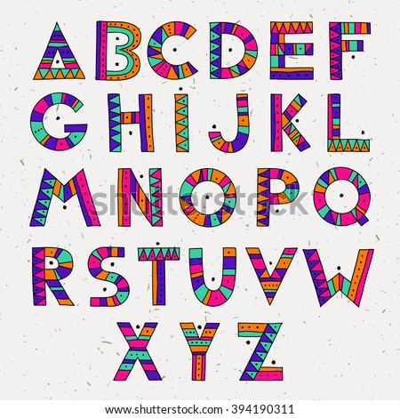 set of ABC letters. colorful hand drawn graphic font. ethnic tribal vector alphabet. Hand drawn multicolor graphic font.  - stock vector