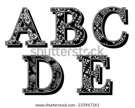 Set of ABCDE alphabet antiqua letters with elegant classic vintage patterns and drop shadow in black and white uppercase typescript, vector design element - stock vector