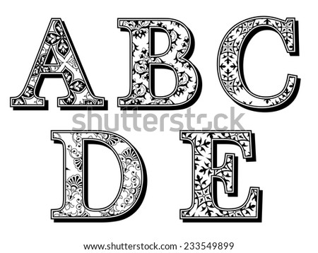 Set of ABCDE uppercase alphabet letters in antiqua font with assorted floral patterns in black and white vintage style with drop shadow, vector design elements for typography - stock vector