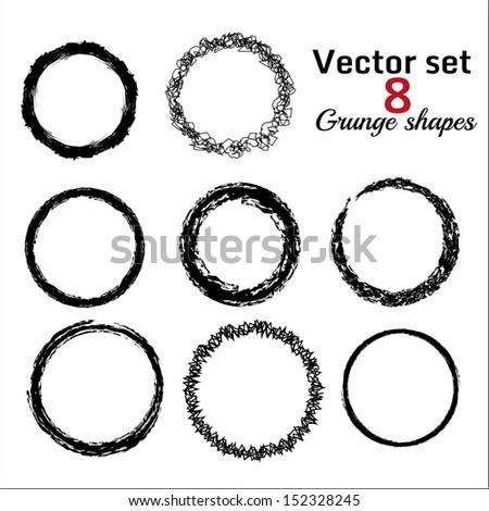 Set of abstact circle grunge shapes - stock vector