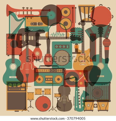 set of abstract  all music instrument icon, retro style - stock vector