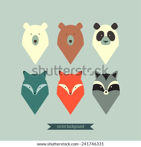 Set of abstract animals - stock vector