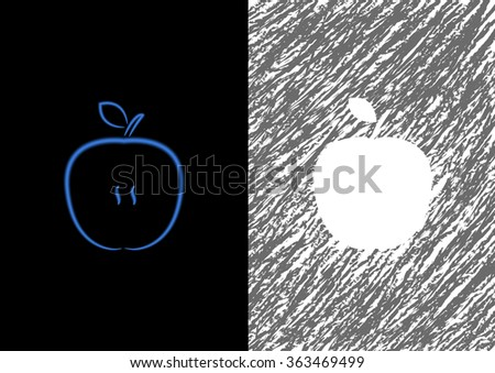 Set of abstract apples. Vector Illustration - stock vector