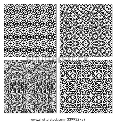 Set of 4 abstract arabic seamless patterns.  Monochrome  orient moroccan background.  Black and white fantasy geometric tiles. Vector illustration.  - stock vector