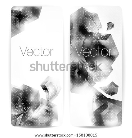 Set of abstract b&w vector banners.