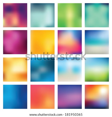Set of abstract backgrounds blurred. Vector illustration. - stock vector