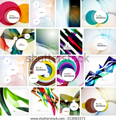 Set of abstract backgrounds. Circles, swirls and waves with copy space for your message. Banner advertising layouts - templates, identity and wallpapers - stock vector