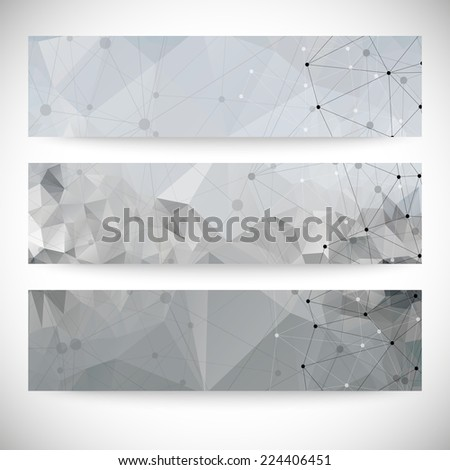 Set of abstract backgrounds, molecule structure, triangle design vector illustration. - stock vector