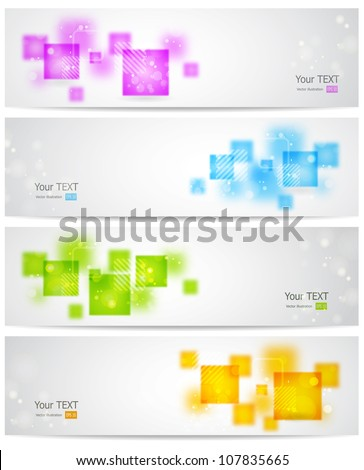 Set of abstract banner with square shapes - stock vector