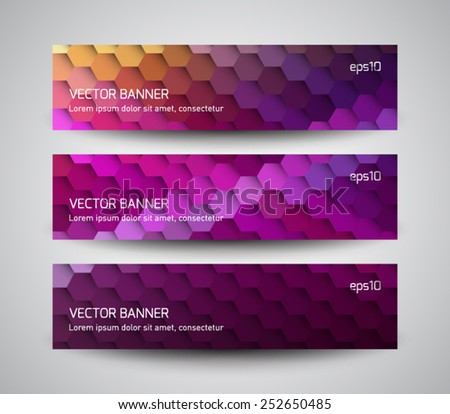 Set of abstract banners collection with futuristic molecular, hexagonal background. Modern geometric polygonal style. Business design - stock vector
