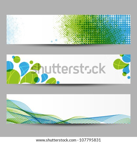 Set of abstract banners with green and blue pattern - stock vector