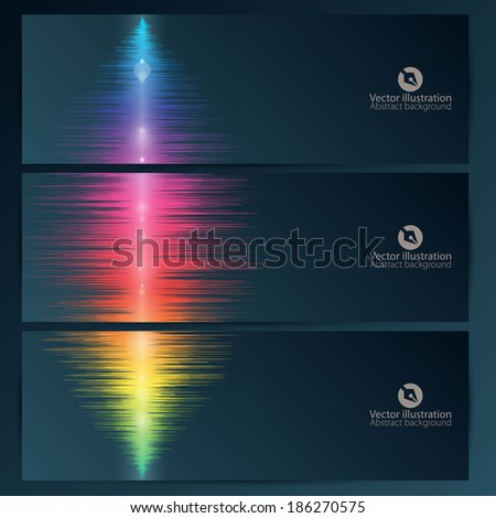 Set of abstract banners with music equalizer wave - stock vector