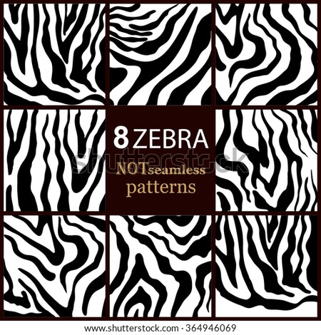 Set of 8 abstract black and white zebra vector patterns. Safari textile collection. - stock vector