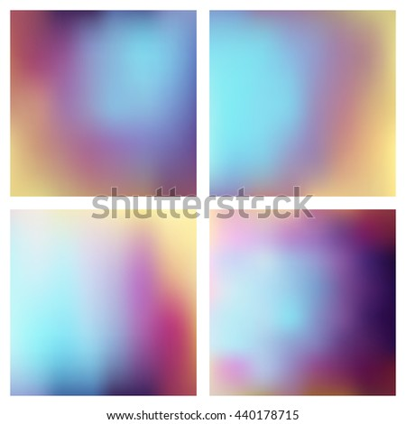 Set of abstract blue pink blur color gradient background for web, presentations and prints. Vector illustration - stock vector