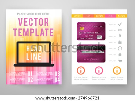 Abstract Blue Brochure Template Icons Annual Stock Vector - Brochure template online