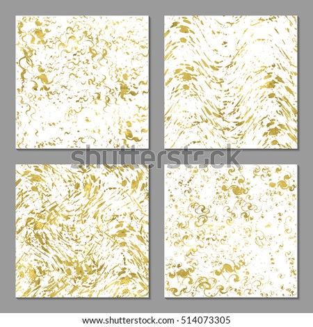 Set of 4  abstract bright  golden cards, poster, template or invitation with sparkle splash. Vector illustration. Shiny background. Texture of gold foil.