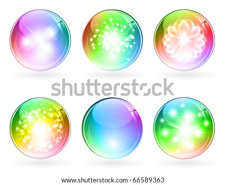 set of abstract bright rainbow multicolored glossy balls - stock vector