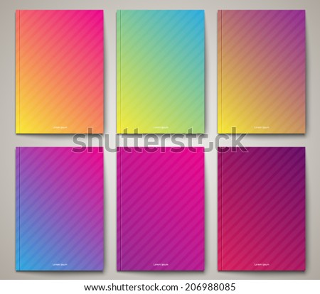 Set of abstract brochure / cover templates with striped gradient background design. Clean and modern style collection  - stock vector