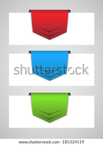 set of abstract business arrow tags, infographic design - stock vector