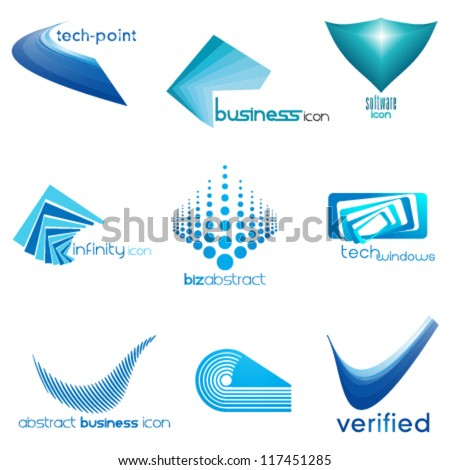 set of abstract business & technology icons, logo set - stock vector