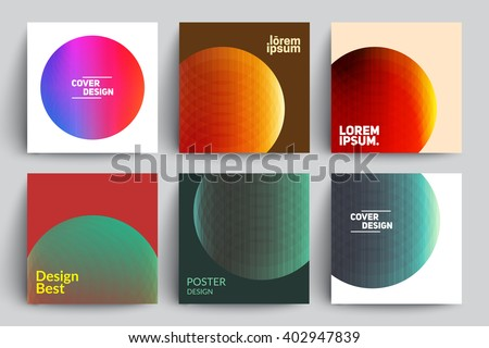 Set of Abstract Cards with Colorful Circles. Applicable for Covers, Placards, Posters, Flyers and Banner Designs. - stock vector