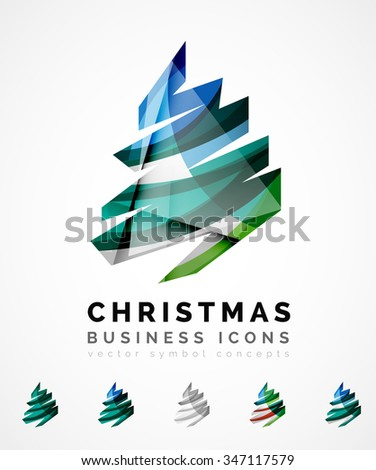 Set of abstract Christmas Tree Icons, business logo concepts, clean modern glossy design. Created with transparent abstract wave lines - stock vector