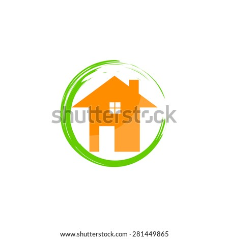 Set of abstract circles on white background, green, orange, colors, home, house idea. Icons, design elements.  Vector - stock vector