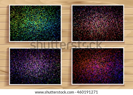 Set of abstract color splash illustration on black background. Collection of calligraphy ink drop on paper random pattern background in color. Colorful confetti on black background bundle. - stock vector
