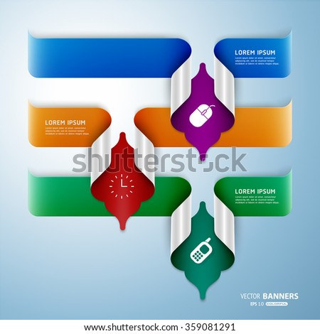 Set of 3 abstract colorful 3d banners with Islamic floral folded elements, easy to recolor - stock vector