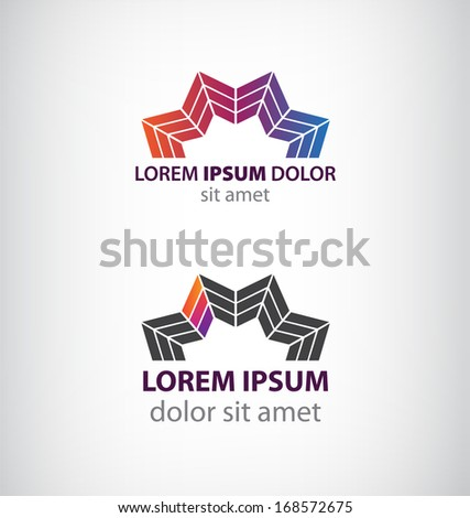 set of abstract colorful half flower, star logos - stock vector