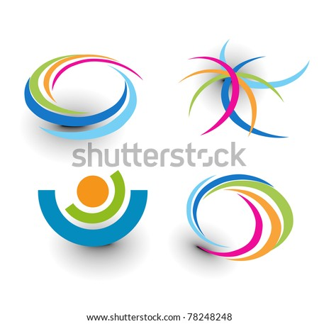 set of abstract colorful icons element. - stock vector