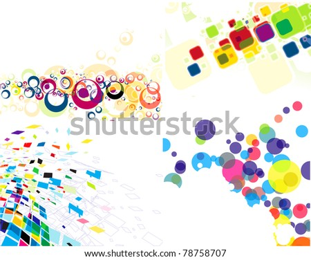 set of abstract colorful mosaic & circle pattern design,