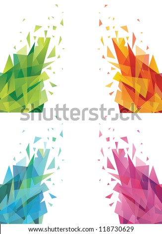Set of abstract colorful triangles. - stock vector
