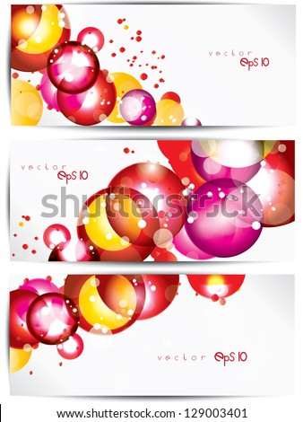Set of abstract colorful web headers and cards - stock vector
