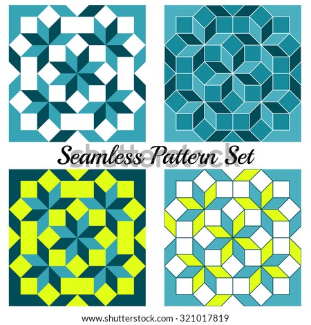 Set of 4 abstract contemporary geometric seamless patterns with rhombus and squares of teal, yellow, blue and white shades - stock vector