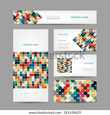 Set of abstract creative business cards design - stock vector
