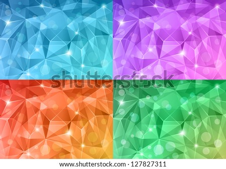 Set of abstract crystal backgrounds. - stock vector