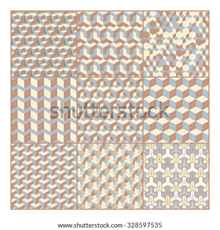 Set of abstract 3d geometric seamless patterns. vector illustration - stock vector