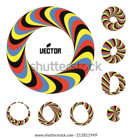Set of abstract 3d vector icons such emblems. 3d bracelets/rings. Abstract geometric shape. Optical Art. - stock vector