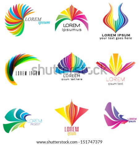set of abstract design elements, business logo, icon set - stock vector