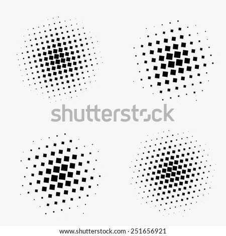 Set of abstract dotted black halftone rectangles - stock vector