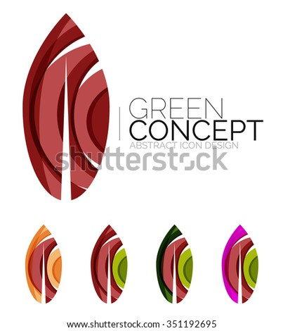 Set of abstract eco plant icons, business logotype nature green concepts, clean modern geometric design. Created with transparent abstract wave lines - stock vector