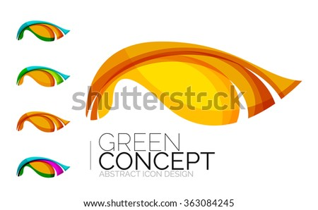 Set of abstract eco plant icons, business logotype nature green concepts, clean modern geometric design - stock vector